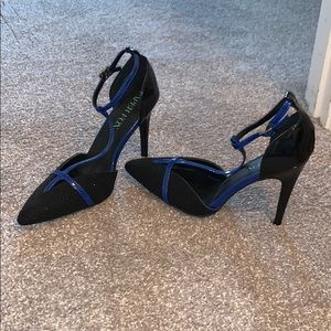 Black and blue high heels